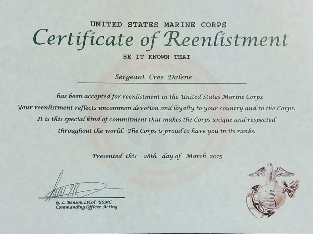 United States Marine Corps Certificate of Reenlistment
